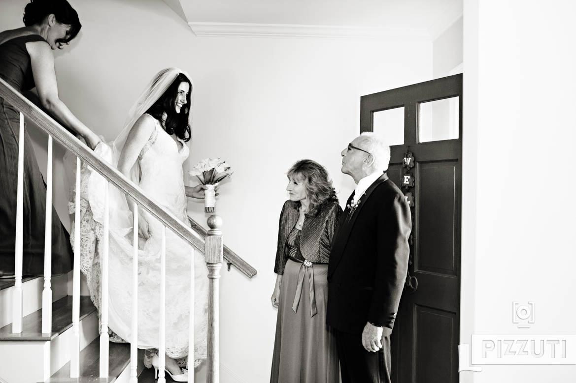 Wedding Family Moments - Bride Coming Down The Stairs