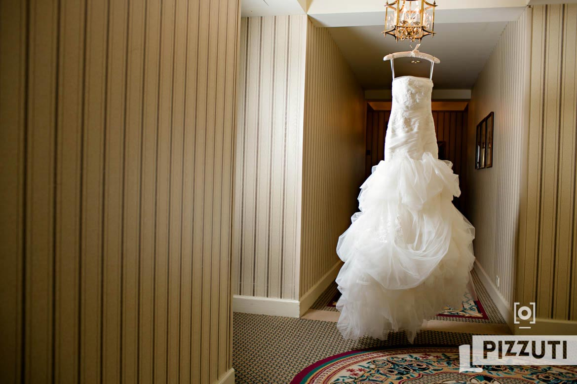 Wedding Gown Hanging Boston Harbor hotel