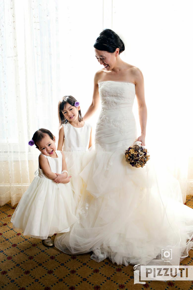 Bride With Flower Girls Boston Harbor Hotel Wedding