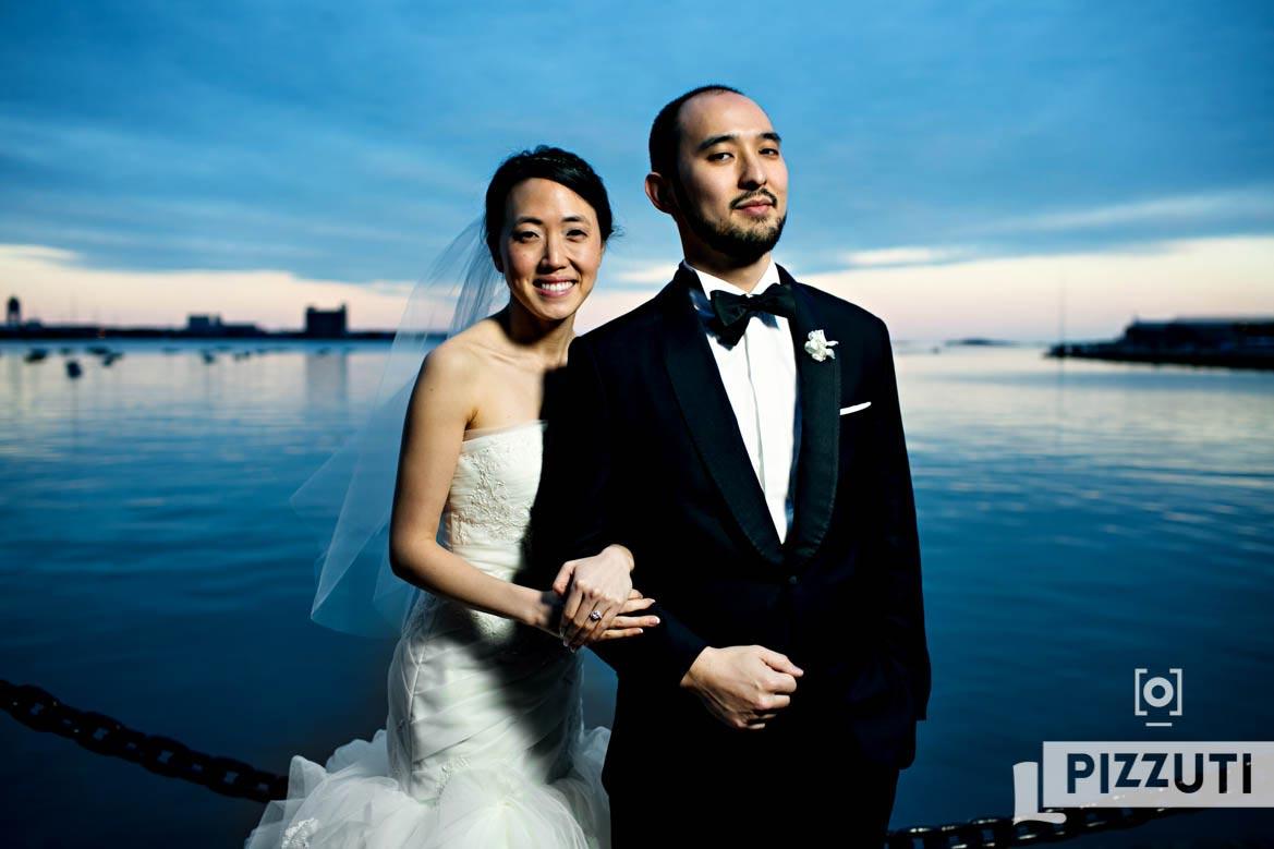 Boston Harbor Bride and Groom Portrait