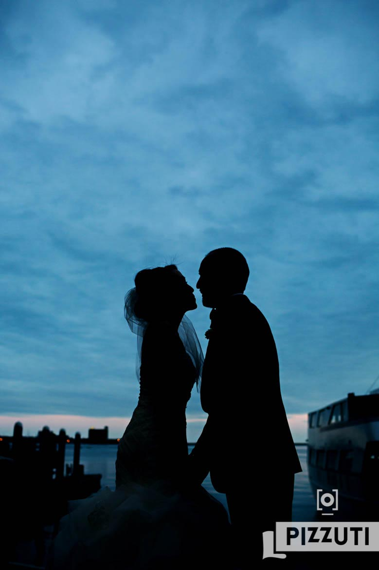 Bride And Groom Silhouette At Dusk