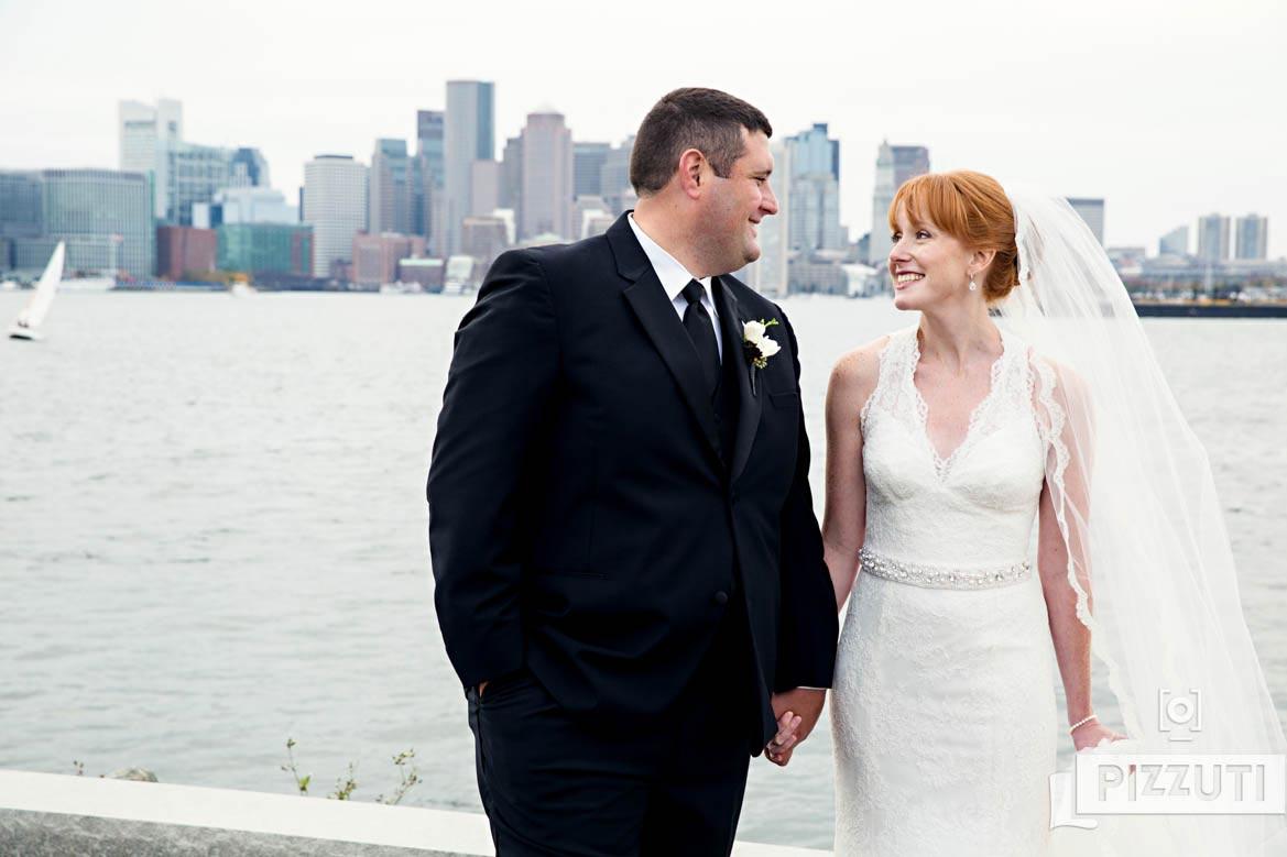 Hyatt Boston Harbor Wedding Bride and Groom Portrait