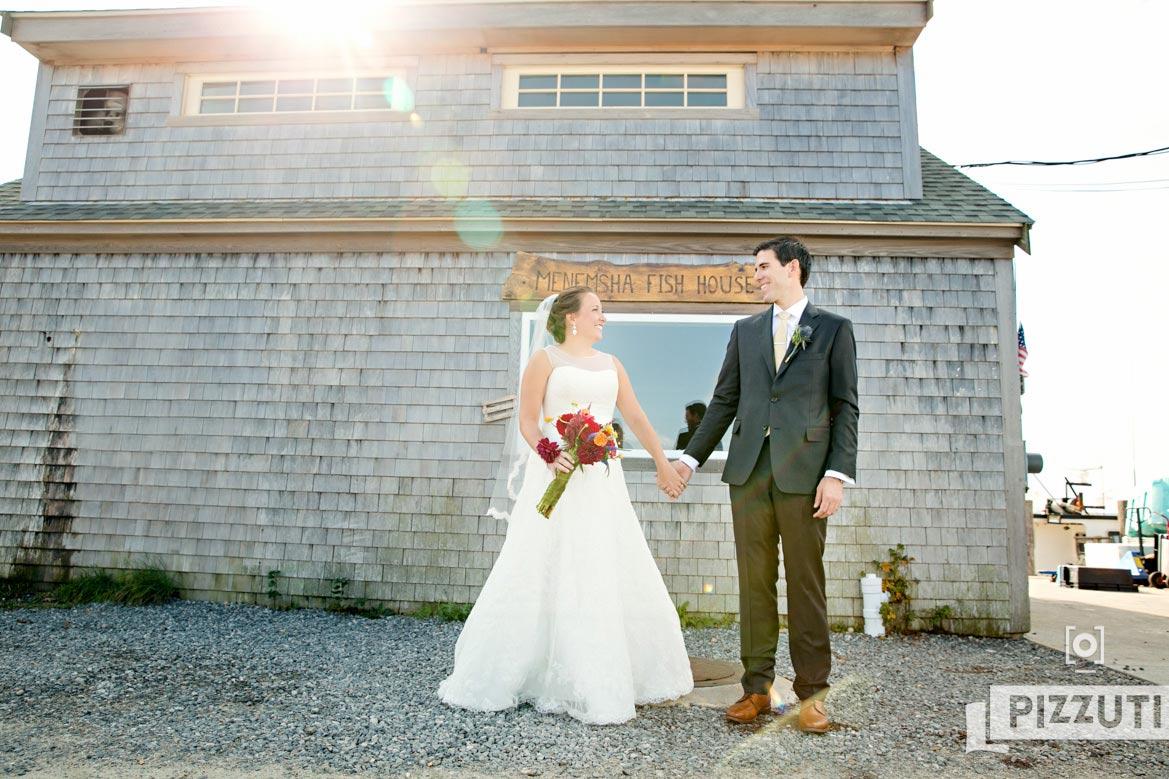 menemsha fish house, martha's vineyard, bride and groom